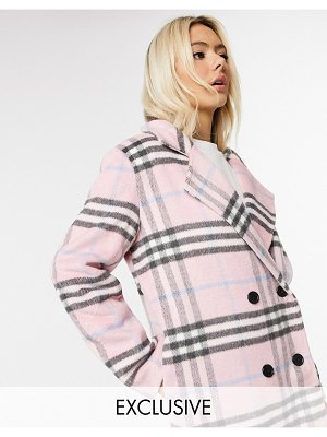 Wednesday's Girl longline tailored coat in pastel check-pink