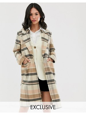 Wednesday's Girl longline wool coat in check-brown