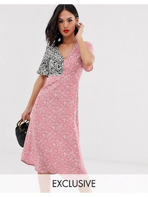 Wednesday's Girl midi dress in mixed print-pink