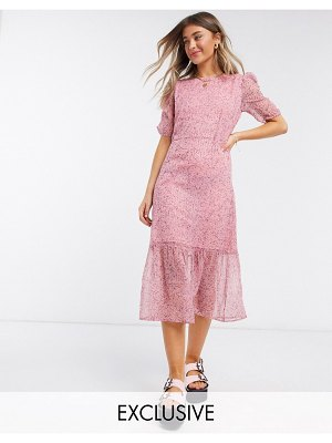 Wednesday's Girl midi dress in pretty floral-pink