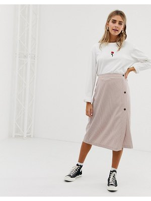 Wednesday's Girl midi skirt with buttons in mini check-brown