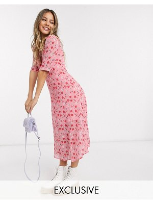 Wednesday's Girl midi tea dress in pretty floral-pink