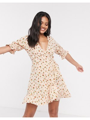 Wednesday's Girl mini wrap dress with tie sleeves in ditsy floral-pink