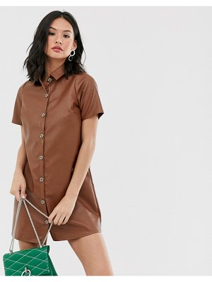 Wednesday's Girl relaxed shirt dress in faux leather