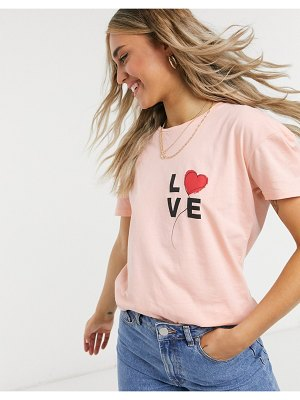 Wednesday's Girl relaxed t-shirt with love balloon print-pink