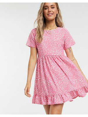 Wednesday's Girl short sleeve smock dress in animal print-pink