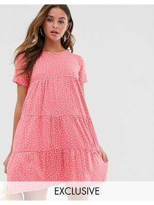 Wednesday's Girl tiered smock dress in spot-pink