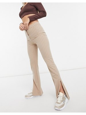 Weekday alecia straight leg pants with split front in beige pinstripe-neutral