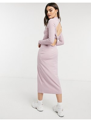 Weekday begonia organic cotton cut out back midi dress in dusty pink