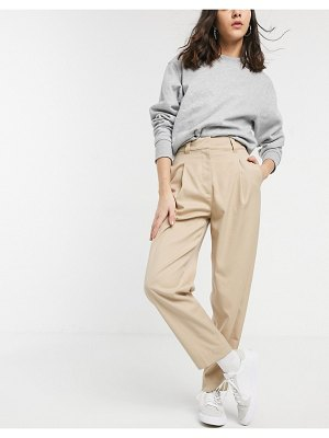 Weekday cleo tapered peg pants in beige
