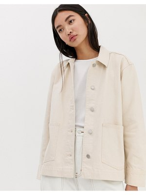 Weekday denim workers jacket in ecru