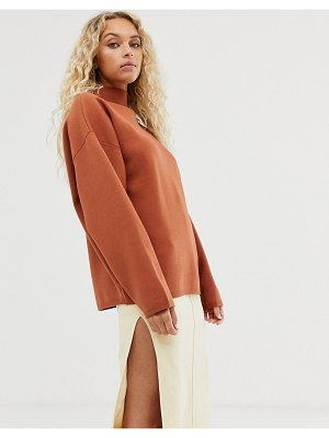 Weekday high neck sweater in rust