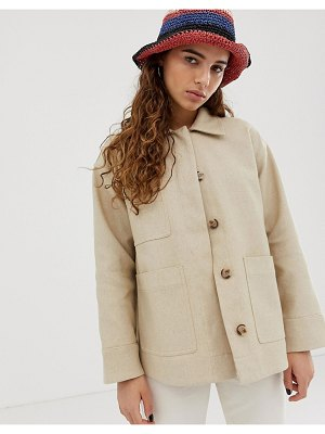 Weekday linen utlity jacket in beige