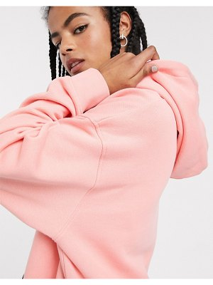 Weekday marcie organic cotton longline oversized hoodie in peach pink-beige
