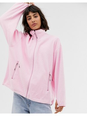 Weekday micro fleece jacket in bubble pink