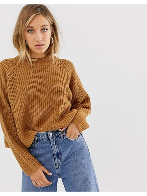 Weekday ribbed oversized sweater in brown