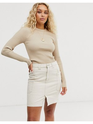 Weekday ribbed round neck sweater in beige
