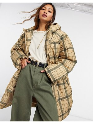 Weekday rut recycled plaid padded jacket in beige