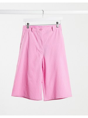 Weekday saana two-piece recycled pinstripe city shorts in pink