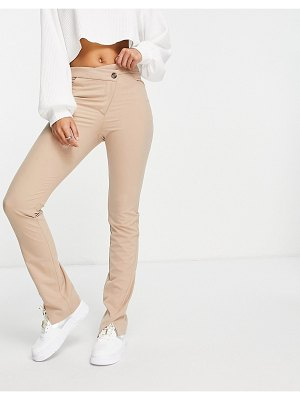 Weekday salena organic cotton pants with slit hem and cross over fly in mole-neutral