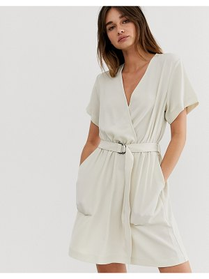Weekday tie belt detail dress in light beige