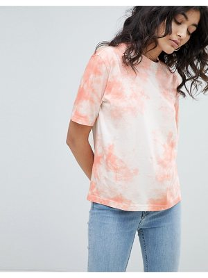 Weekday tie dye vintage t-shirt in white and pink