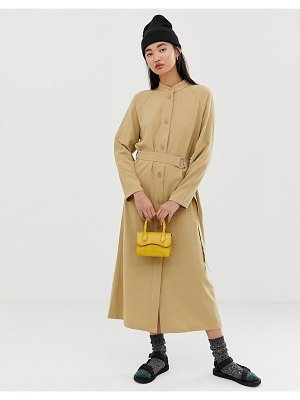 Weekday tie front button dress in camel