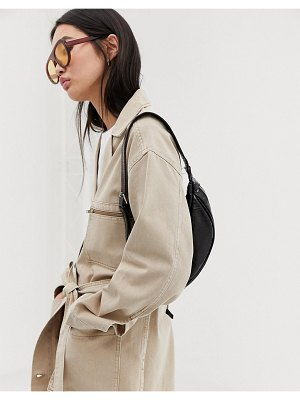 Weekday tie waist worker jacket in sand