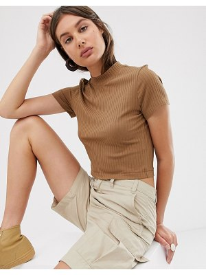 Weekday turtleneck top in light brown-beige