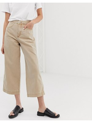 Weekday zip pocket front wide leg jeans in sand