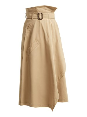 Weekend Max Mara Paperbag-waist cotton midi skirt