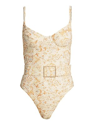 WeWoreWhat danielle belted underwire one-piece swimsuit
