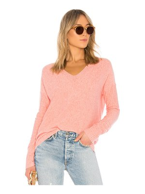 White + Warren Wide Rib V Neck Sweater