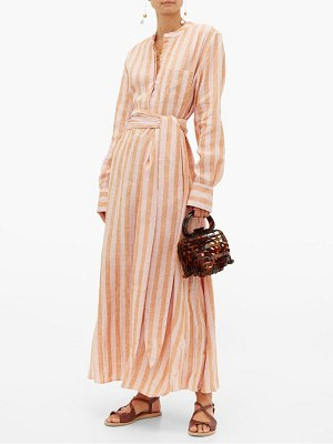 WIGGY KIT como striped linen shirtdress
