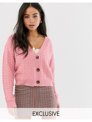 Wild Honey chunky knit cardigan in cable