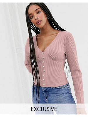 Wild Honey fitted top with faux pearl buttons-pink