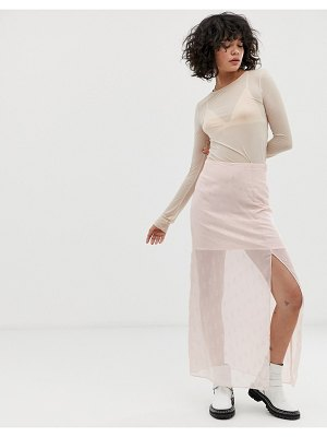 Wild Honey slip skirt in embellished sheer satin-pink
