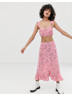Wild Honey split front midi skirt in vintage floral two-piece