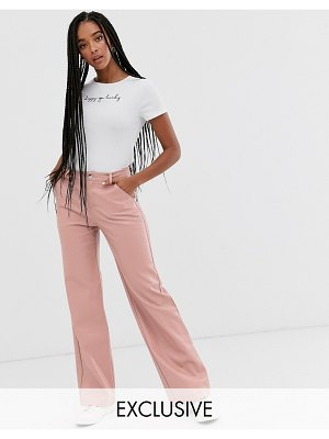 Wild Honey wide leg pants in faux leather-pink