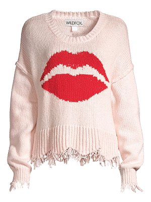 Wildfox luna lip frayed-hem cotton sweater
