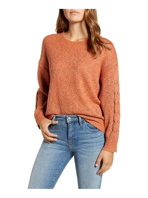 Wit & Wisdom cable sleeve marled sweater