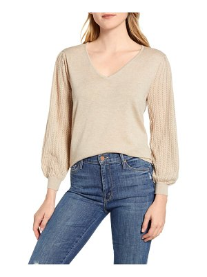 Wit & Wisdom pointelle balloon sleeve cotton sweater