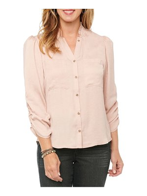 Wit & Wisdom ruched sleeve button-up shirt