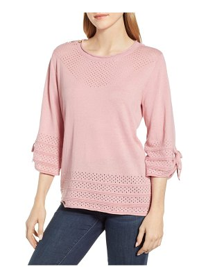 Wit & Wisdom tie sleeve perforated sweater