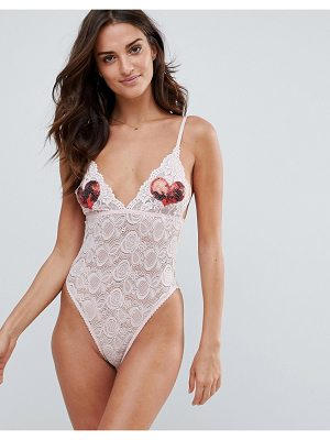 Wolf & Whistle sequin heart lace body