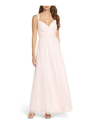WTOO deep v-neck chiffon & tulle gown
