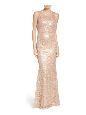 WTOO sequin embroidered cowl back a-line gown