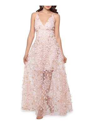 Xscape 3d floral v-neck gown