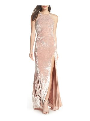 Xscape beaded crushed velvet gown