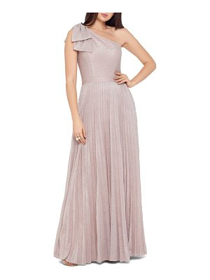 Xscape bow one-shoulder glitter gown